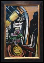 Max Beckmann, Studio (Notte). Natura morta con telescopio e figura velata | Atelier (Nacht). Stillleben mit Fernrohr und verhüllter Figur | Studio (Night). Still life with telescope and veiled figure