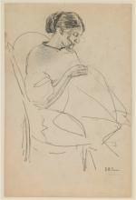 Max Beckmann, Studio di una donna che cuce | Study of woman sewing