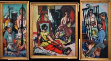 Max Beckmann, Tentazione (Tentazione di sant'Antonio) [Trittico] | Versuchung (Versuchung des Heiligen Antonius) [Triptychon]
