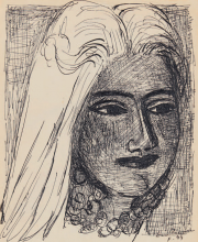 Max Beckmann, Testa di donna con collana   Frauenkopf mit Halskette