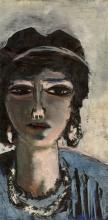 Max Beckmann, Testa di donna in blu e grigio (L'egiziana) | Weiblicher Kopf in Blau und Grau (Die Ägypterin)