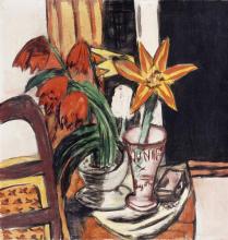Max Beckmann, Tulipani rossi e gigli di fuoco   Rote Tulpen und Feuerlilien   Red tulips and fire lilies