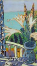 Max Beckmann, Veduta di Mentone con vaso di gigli   Blick auf Menton mit Lilientopf
