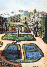 Max Beckmann, Veduta di un giardino in primavera con montagne | Garten Landschaft im Frühjahr mit Bergen | Garden landscape in spring with mountains