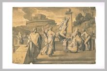 François Léon Benouville, Gruppo di donne, uomini e bambini presso una fontana | Groupe de femmes, d'hommes et d'enfants près d'une fontaine