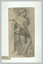 François Léon Benouville (attribuito a), Ragazzino addossato ad una colonna   Jeune garçon adossé à un pilier, avec grande cape et chapeau