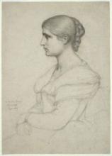 François Léon Benouville, Ritratto di una giovane signora di profilo | Portrait d'une jeune dame de profil | Portrait of a young lady in profile