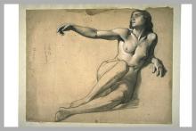 François Léon Benouville, Studio di donna nuda, seduta per terra | Étude d'une femme nue, assise à terre