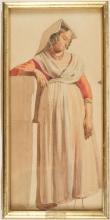 Jean Achille Benouville (attribuito a), Donna in piedi di fronte