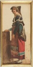 Jean Achille Benouville (attribuito a), Donna in piedi di profilo