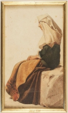 Jean Achille Benouville (attribuito a), Donna seduta di profilo