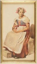 Jean Achille Benouville (attribuito a), Donna seduta