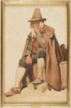 Jean Achille Benouville (attribuito a), Pifferaio