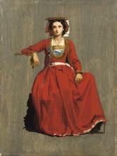 Jean Achille Benouville (attribuito a), Ritratto di una italiana | Portrait d'une Italienne | Portrait of an Italian woman
