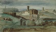 Jean Achille Benouville (attribuito a), Veduta della campagna romana | Vue de la campagne romaine