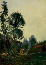 Jean Achille Benouville, Alberi in un paesaggio collinare | Arbres dans un paysage de collines | Trees in a hilly landscape