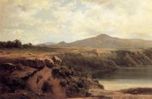 Jean Achille Benouville, Bestiame a riposo in un vasto paesaggio italiano | Cattle resting in an extensive Italian landscape