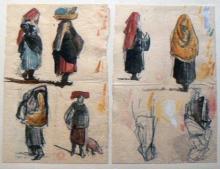 Jean Achille Benouville, Due fogli di studio di donne italiane | Deux feuilles d'études de femmes italiennes