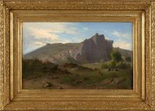 Jean Achille Benouville, Guardiana di vacche e la sua mandria in un paesaggio roccioso | Vachère et son troupeau dans un paysage rocheux