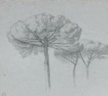 Jean Achille Benouville, I pini parasole della Villa Medici | Les pins parasol de la Villa Médicis