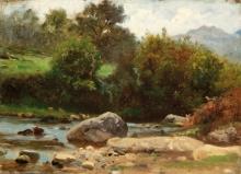 Jean Achille Benouville (attribuito a), Il torrente di Pau | Le gave de Pau