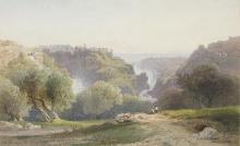 Jean Achille Benouville, Le cascate di Tivoli, due figure sedute in primo piano   Les chutes de Tivoli, deux personnages assis au premier plan