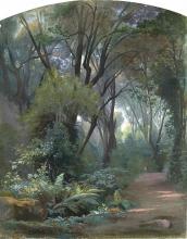 Jean Achille Benouville, Nel parco di Villa Chigi ad Ariccia | Dans le parc de la Villa Chigi à Ariccia | Im Park der Villa Chigi bei Ariccia