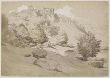 Jean Achille Benouville, Paesaggio italiano con un villaggio arroccato   Paysage d'Italie avec un village perché