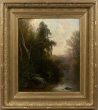 Jean Achille Benouvile (attribuito a), Paesaggio. Ricordo del lago di Nemi   Paysage. Souvenir du lac de Nemi   Landscape. A memory of Lake Nemi