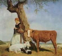 Jean Achille Benouville, Pastorella che bada a vacche e capre in un campo | Petite bergère gardant à vaches et chèvres dans un champ