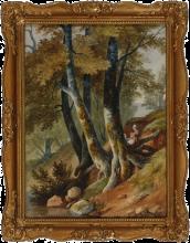 Jean Achille Benouville, Ragazze presso un ruscello nel bosco | Filles prés d'un ruisseau dans les bois | An einem Waldbach rastendes Mädchen
