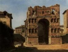 Jean Achille Benouville, Roma, veduta del tempio di Giano   Rome, vue du temple de Janus   Rome, view of the temple of Janus