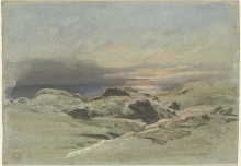 Jean Achille Benouville, Tramonto visto da un costa rocciosa   Coucher de soleil vu d'une côte rocheuse   Sunset seen from a rocky coastline