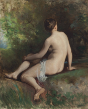 Jean Achille Benouville, Un nudo nella foresta | A nude in the forest