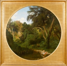 Jean Achille Benouville, Una bagnante nella foresta | Une baigneuse dans une forêt | A bather in a forest