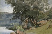 Jean Achille, Benouville, Veduta del lago di Nemi con la città di Genzano sullo sfondo | Vue du lac de Nemi avec la ville de Genzano, en arrière-plan