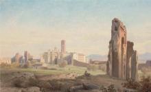 Jean Achille Benouville, Veduta della chiesa di Santa Croce in Gerusalemme   Vue de l'église Santa Croce in Gerusalemme avec l'aqueduc Claudien à Rome