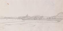 Jean Achille Benouville, Veduta di San Pietro dal ponte Milvio   Blick auf St. Peter von der Ponte Milvio