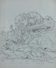 Jean Achille Benouville, Veduta di una collina nella campagna romana   Vue d'une colline dans la campagne romaine