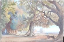 Jean Achille Benouville, Veduta di una terrazza con grandi alberi | Vue d'une terrasse avec des grands arbres