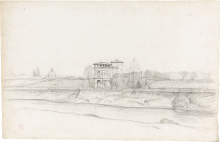 Jean Achille Benouville, Veduta panoramica di Roma con la cupola di San Pietro in lontananza | Panoramic view of Rome with the dome of St Peter's in the distance