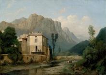 Jean Achille Benouville, Villaggio alpino lungo un ruscello | Village alpestre en bordure de ruisseau