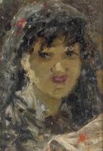 Mosè Bianchi (attribuito a), Ritratto di giovane donna con velo
