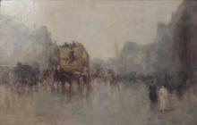 Mosè Bianchi (attribuito a), Scena di boulevard a Parigi