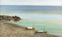 Mosè Bianchi (attribuito a), Tratto di costa soleggiata con due barche sulla spiaggia