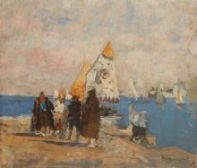 Mosè Bianchi, Barche di carbone a Chioggia   Coal boats in Chioggia