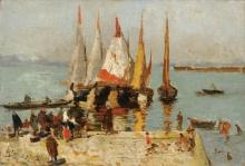 Mosè Bianchi, Barche sulla laguna, Venezia