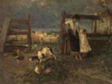 Mosè Bianchi, Campagna lombarda con gregge e contadinelle in riva al lago