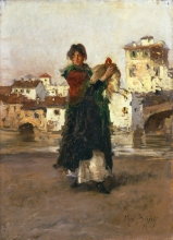 Mosè Bianchi, Donna con gallina   Woman with hen