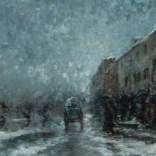 Mosè Bianchi, Donne sotto la neve al Carrobbio [dettaglio]